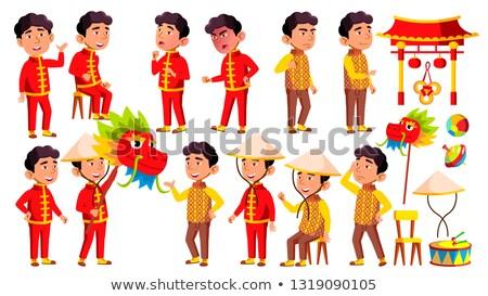 Asian Boy Kindergarten Kid Poses Set Vector. Festival, Dragon. Happy Children Character. Babysitting Stock photo © pikepicture