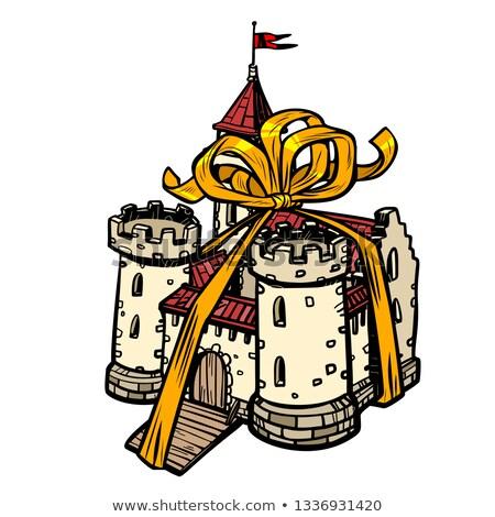 Dar wstążka średniowiecznej zamek bajki królestwo Zdjęcia stock © studiostoks