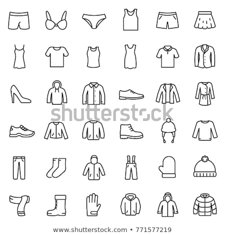Stock photo: Set of different shirts from thin lines, vector illustration.