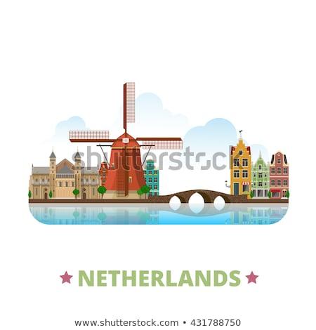 Reizen Nederland kleurrijk ontwerp stijl illustratie Stockfoto © Decorwithme