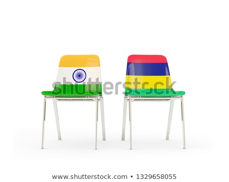 Two chairs with flags of India and mauritius Stock photo © MikhailMishchenko