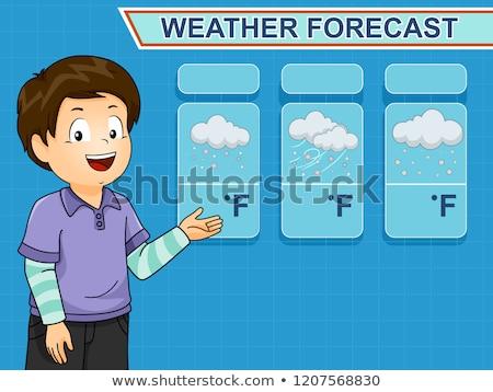 Kid garçon studio météorologiques prévision illustration Photo stock © lenm