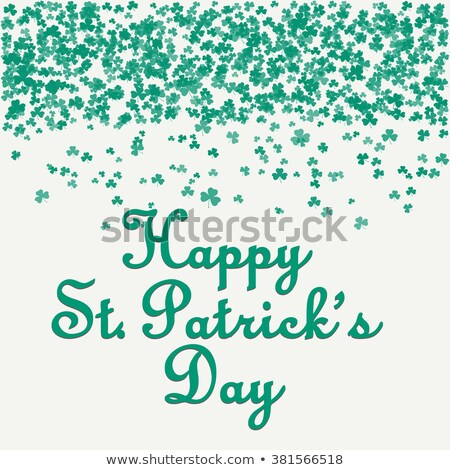 Happy Saint Patricks Day Design with Green Falling Clover on Abstract Background. Vector Irish Beer  Stock photo © articular