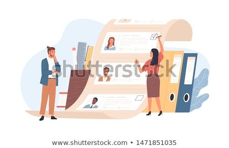 Cartoon Man Woman Office We Are Hiring Stock photo © limbi007