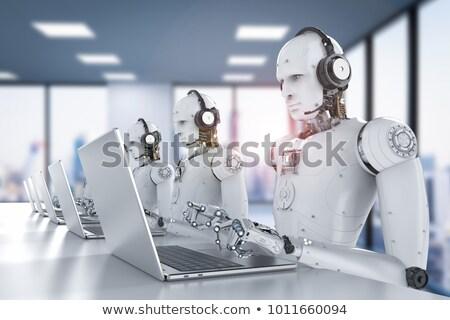 Humanoide robot cuaderno escribiendo 3d negocios Foto stock © limbi007