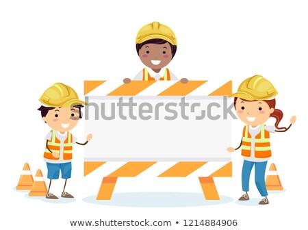 Stickman Kids Construction Sign Board Illustration Stock photo © lenm