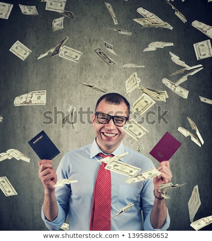 Mutlu işadamı iki para yağmur vatandaşlık Stok fotoğraf © ichiosea