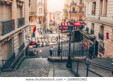 Trap montmartre top typisch trappenhuis heuvel Stockfoto © artjazz