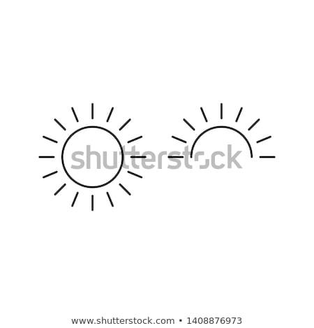 Zon half zonsopgang lijn icon schets Stockfoto © kyryloff