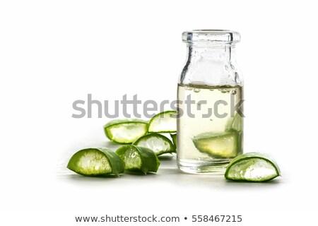 Fatias aloés folha garrafa transparente gel Foto stock © galitskaya
