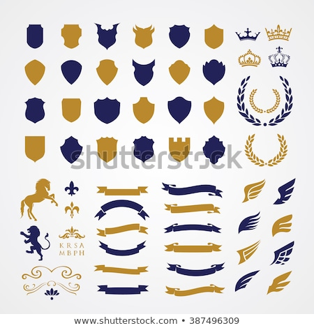 lion heraldic crest coat of arms shield emblem stock photo © krisdog
