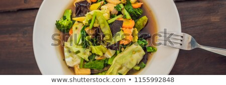 Stock photo: Stewed vegetables with tofu Balinese dish. Lifestyle BANNER, long format
