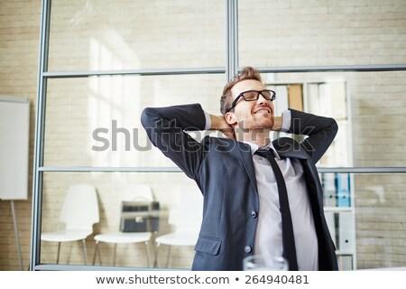 小さな ビジネスマン 作業 オフィス ビジネス ストックフォト © Freedomz