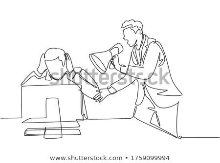 Ontdaan baas werknemer megafoon boos Stockfoto © majdansky
