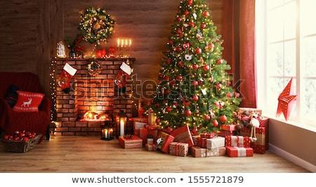 Stock foto: Weihnachten · dekoriert · Kamin · Baum · Zimmer · Loft
