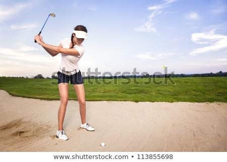 Foto stock: Menina · jogador · de · golfe · bola · mulher · jovem · jogador · de · golfe · golfball