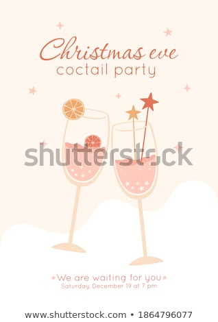 Two Elegance Champagne Glasses Color Vector Stock photo © pikepicture