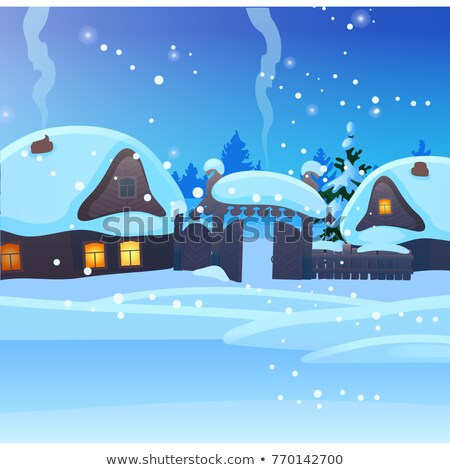 Sketch for Christmas poster with cozy rustic small houses with glowing windows. Template for greetin Stock photo © Lady-Luck