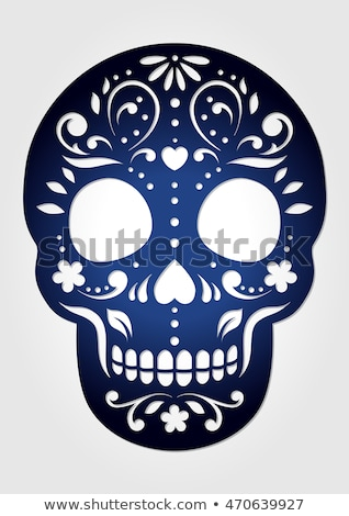 Day of the dead mexican papercut skull card Stock photo © cienpies