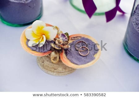 Wedding rings in the shells with the words of Boracay, Philippines. Wedding in the tropics, concept Stock photo © galitskaya