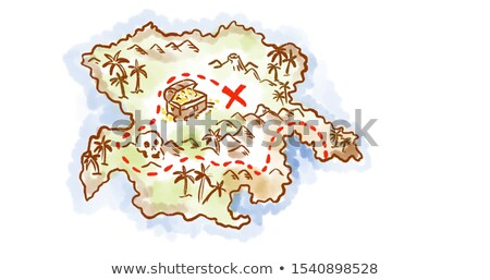 Treasure map of an island showing x mark the spot Drawing Retro Stock photo © patrimonio