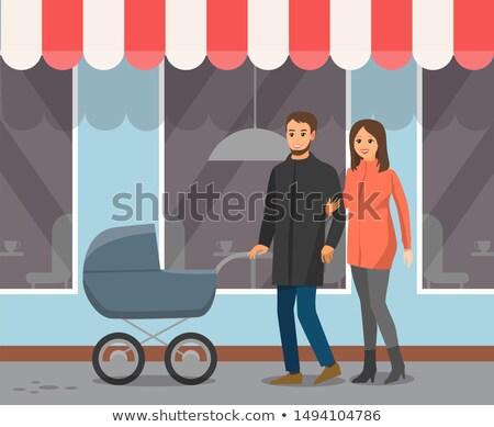 Paar kinderwagen lopen cafe Windows tent Stockfoto © robuart