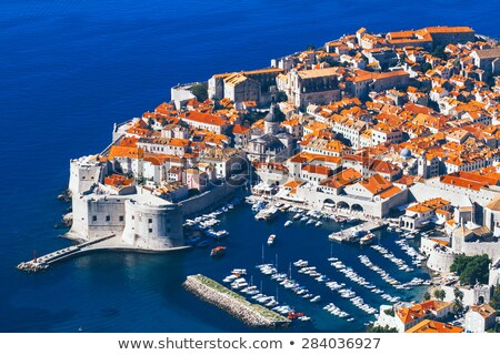 Medieval town of Dubrovnik with famous walls colorful view Stock photo © xbrchx