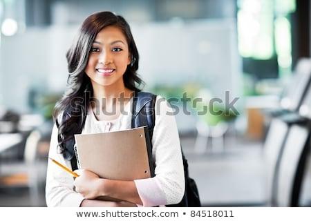 Portret gelukkig studenten bibliotheek man laptop Stockfoto © HighwayStarz