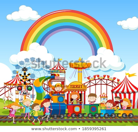 Circus scene with rainbow in the sky Stock photo © bluering