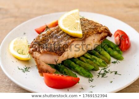 フライド · 魚 · 唐辛子 · ソース · 野菜 · 青 - ストックフォト © koratmember
