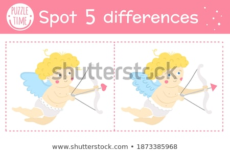 Valentine theme with cute cupid shooting arrow Stock photo © bluering