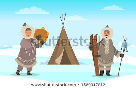 Eskimo Man, Arctic People Near Shelter Igloo Stock photo © robuart
