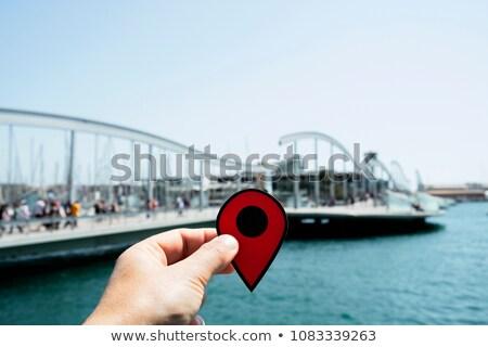 красный маркер указывая порта Барселона Испания Сток-фото © nito
