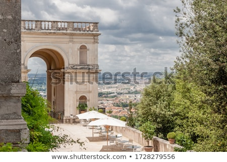 Oval Fountain, famous Italian Renaissance Villa D Este gardens i Stock photo © Zhukow