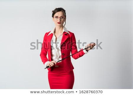 Empresária chicote pronto bem vermelho terno Foto stock © Kzenon