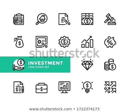 Kéz százalék felirat ikon vektor skicc Stock fotó © pikepicture