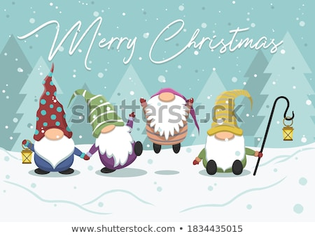 Best Wishes and Merry Christmas Cards with Elves Stock photo © robuart