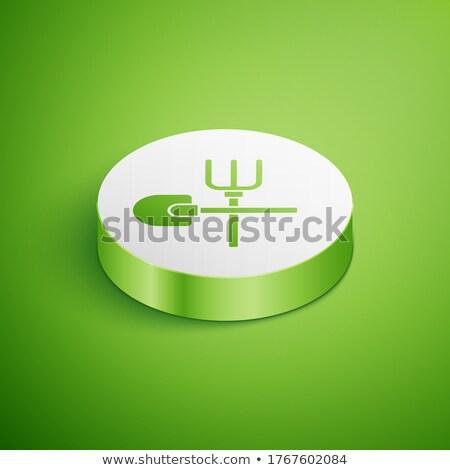 Kertészkedés gereblye ikon zöld kör szerszám Stock fotó © Imaagio