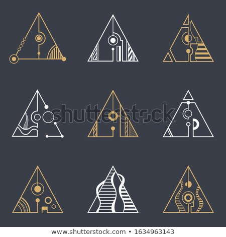 Collection of colored triangles, separated with lines and circle Stock photo © ColorHaze