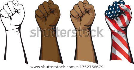 Raised fist set including line art, flesh tones and patriotic versions isolated vector illustration Stock photo © jeff_hobrath