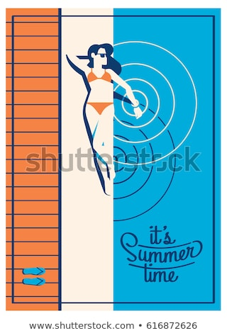 Border template design with girl at summer camp Stock photo © bluering
