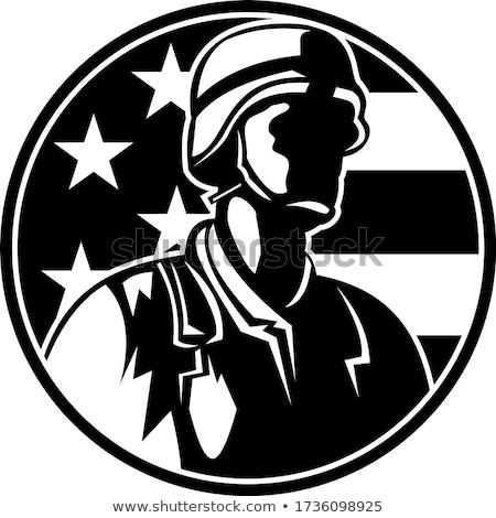 American Soldier Serviceman Saluting Flag Circle Retro Black and White Stock photo © patrimonio