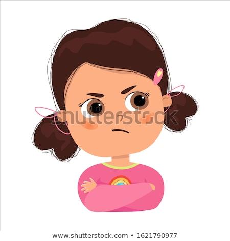 woede · kind · portret · meisje · gezicht · schoonheid - stockfoto © vladacanon