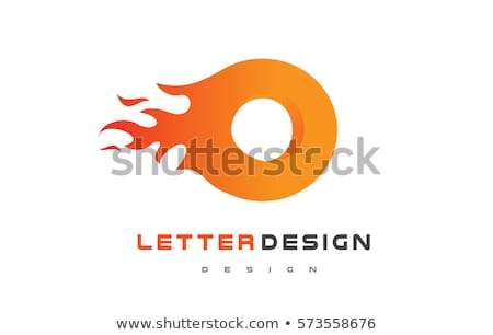 Stock photo: burning and flame font o letter