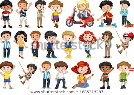 Enfants cartoon dix portraits différent famille Photo stock © Vg