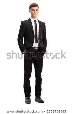 jeune · homme · costume · posant · mains · main · sourire - photo stock © Paha_L