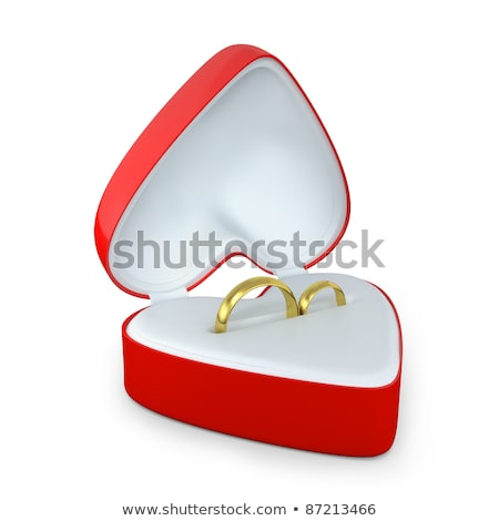 Kinyitott ajándék doboz kettő értékes gyűrűk arany Stock fotó © Pixelchaos