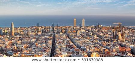 kilátás · Barcelona · kikötő · kék · mediterrán · tenger - stock fotó © photocreo