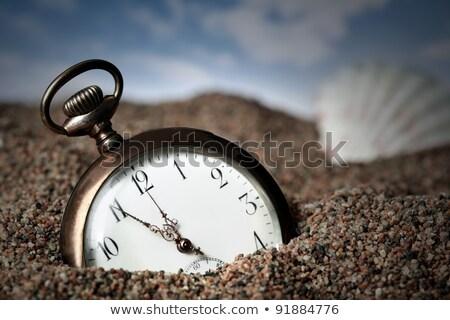 velho · relógio · de · bolso · enterrado · areia · praia - foto stock © mikdam