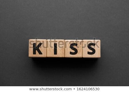 öpücük kısaltma yazılı renkli tebeşir tahta Stok fotoğraf © bbbar